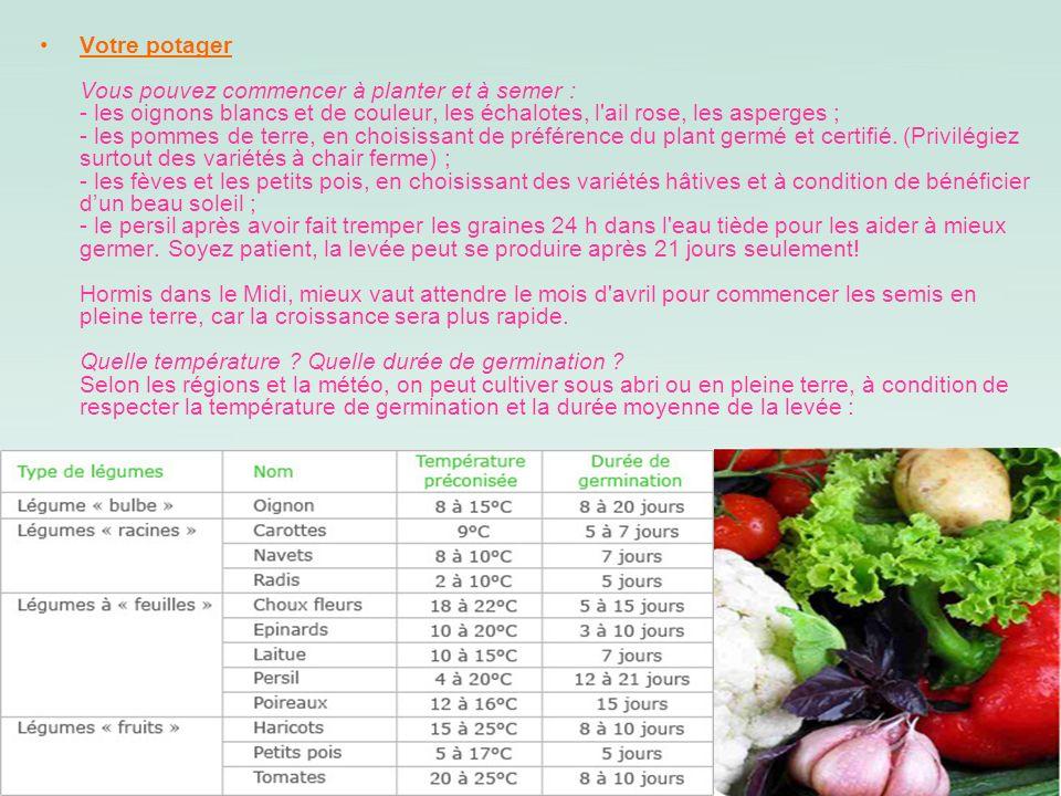 Votre potager Vous pouvez commencer à planter et à semer : - les oignons blancs et de couleur, les échalotes, l'ail rose, les asperges ; - les pommes