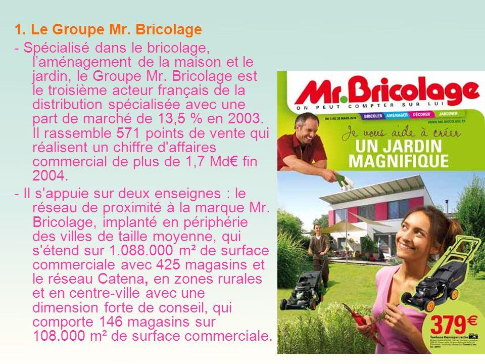 1. Le Groupe Mr. Bricolage - Spécialisé dans le bricolage, laménagement de la maison et le jardin, le Groupe Mr. Bricolage est le troisième acteur fra