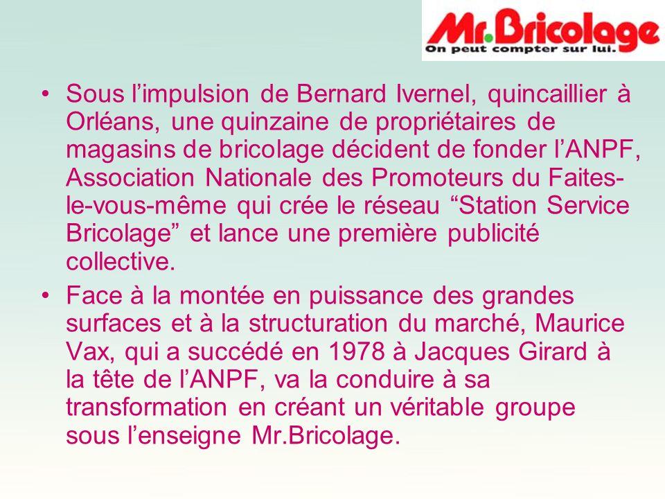 Sous limpulsion de Bernard Ivernel, quincaillier à Orléans, une quinzaine de propriétaires de magasins de bricolage décident de fonder lANPF, Associat