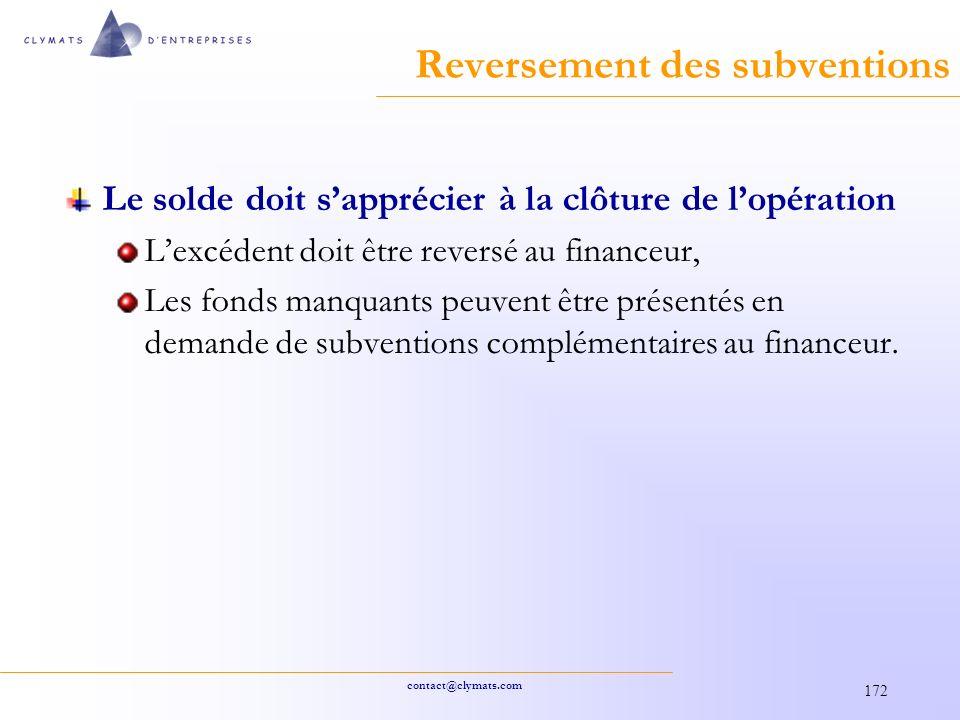 contact@clymats.com 172 Reversement des subventions Le solde doit sapprécier à la clôture de lopération Lexcédent doit être reversé au financeur, Les fonds manquants peuvent être présentés en demande de subventions complémentaires au financeur.