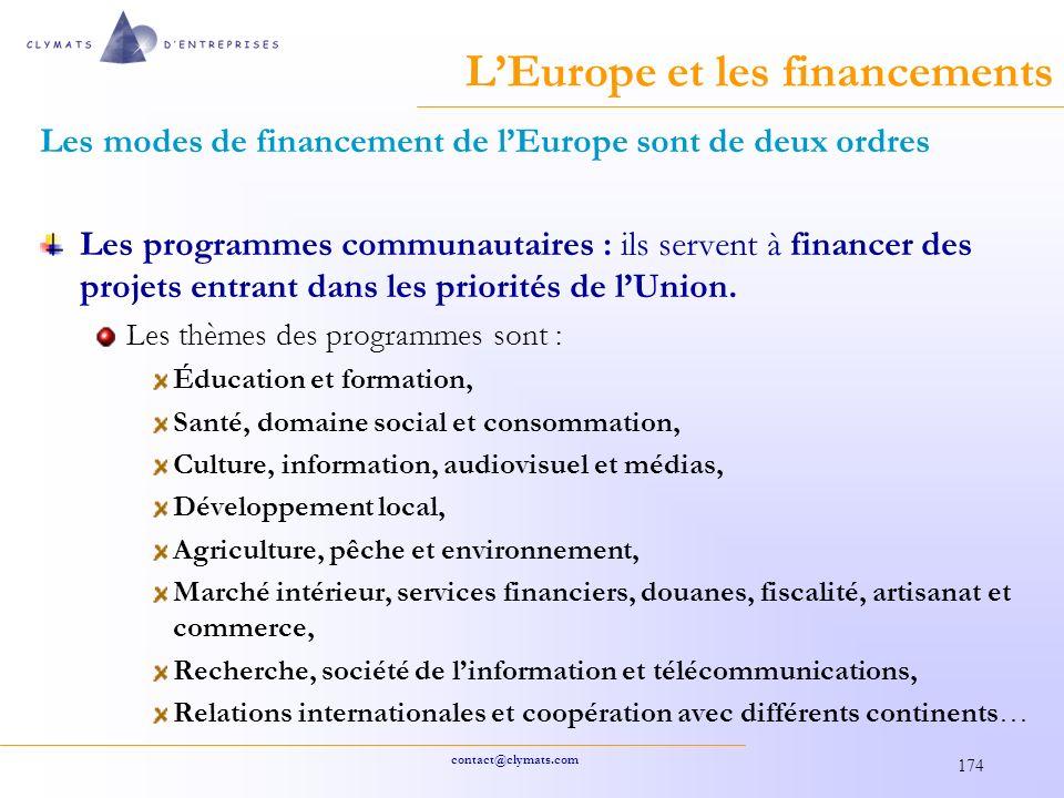 contact@clymats.com 174 LEurope et les financements Les modes de financement de lEurope sont de deux ordres Les programmes communautaires : ils servent à financer des projets entrant dans les priorités de lUnion.