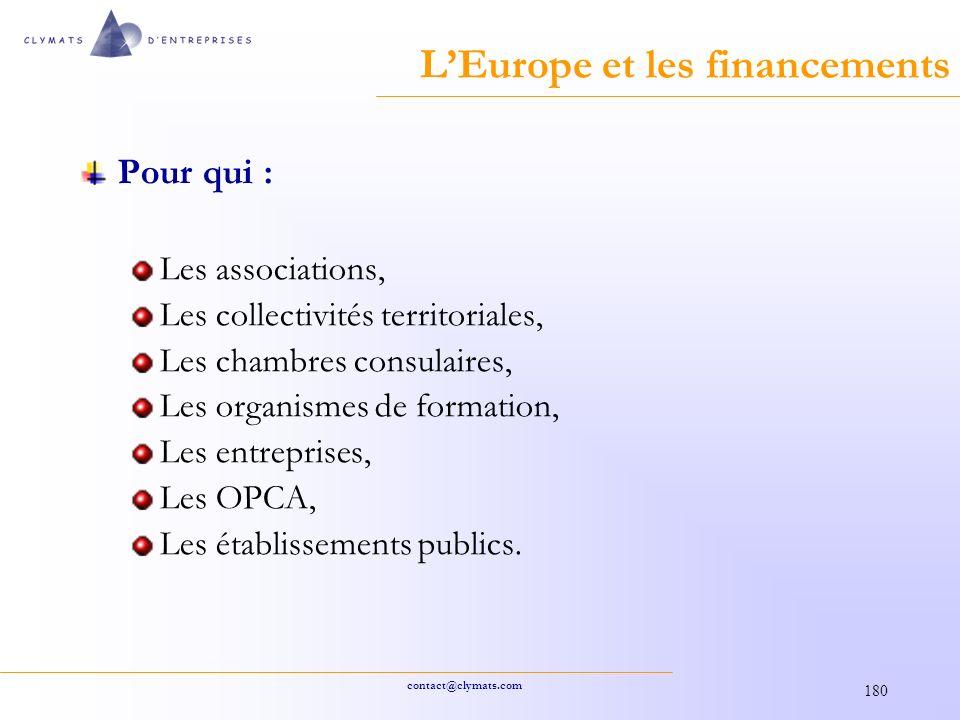 contact@clymats.com 180 LEurope et les financements Pour qui : Les associations, Les collectivités territoriales, Les chambres consulaires, Les organismes de formation, Les entreprises, Les OPCA, Les établissements publics.