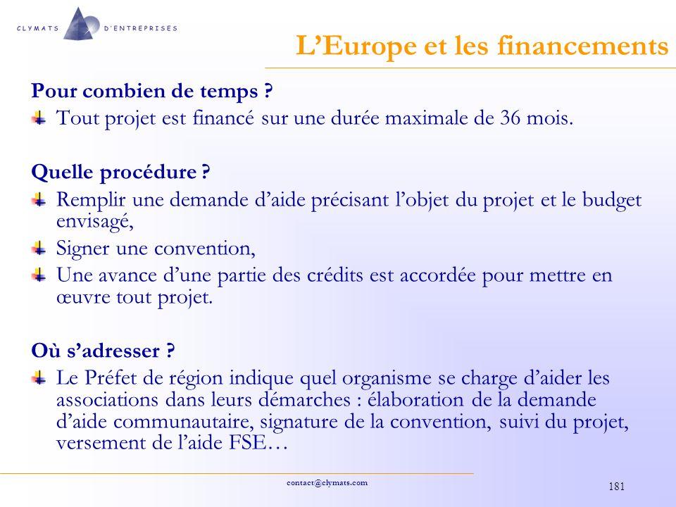 contact@clymats.com 181 LEurope et les financements Pour combien de temps .