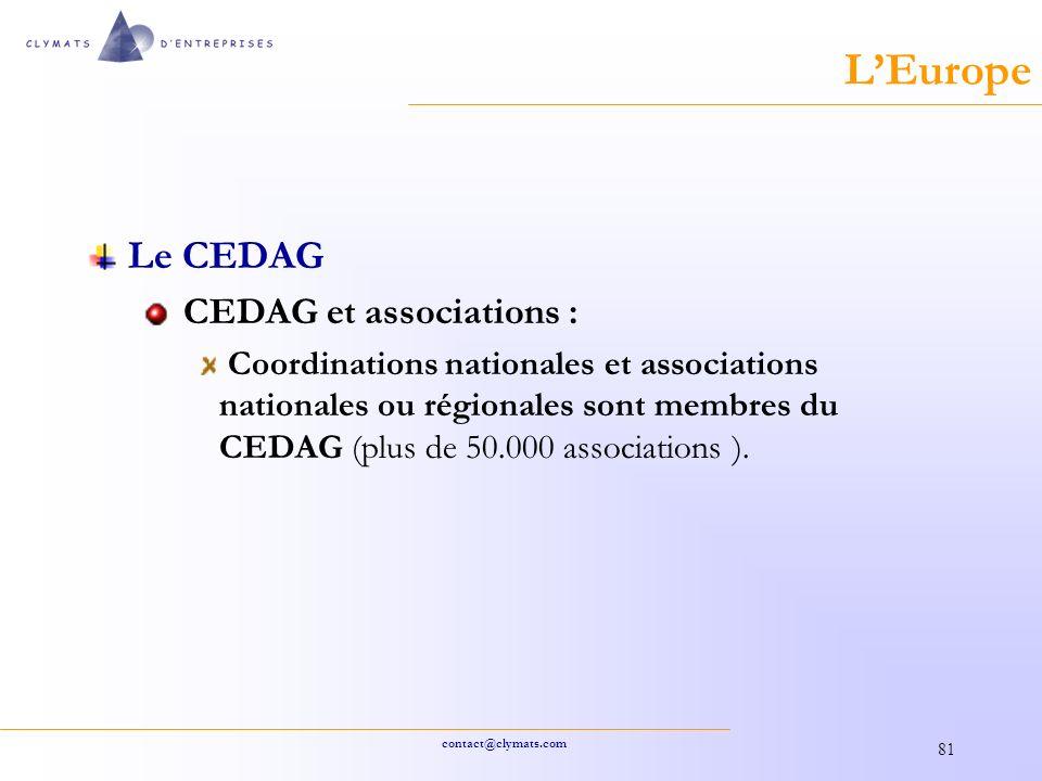 contact@clymats.com 81 LEurope Le CEDAG CEDAG et associations : Coordinations nationales et associations nationales ou régionales sont membres du CEDAG (plus de 50.000 associations ).