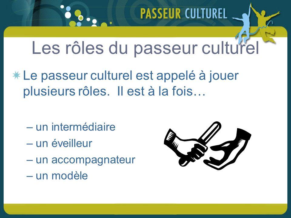 Les rôles du passeur culturel Le passeur culturel est appelé à jouer plusieurs rôles.