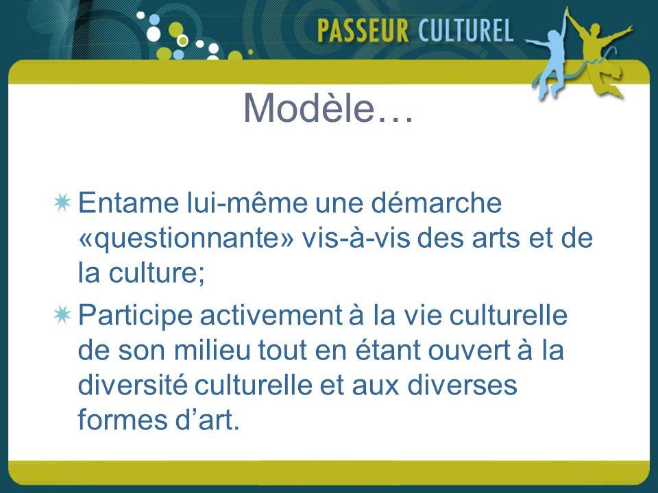 Modèle… Entame lui-même une démarche «questionnante» vis-à-vis des arts et de la culture; Participe activement à la vie culturelle de son milieu tout en étant ouvert à la diversité culturelle et aux diverses formes dart.