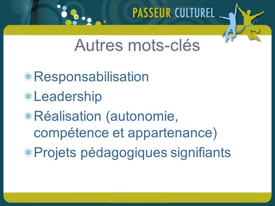 Autres mots-clés Responsabilisation Leadership Réalisation (autonomie, compétence et appartenance) Projets pédagogiques signifiants