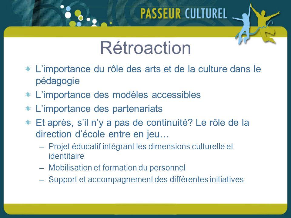 Rétroaction Limportance du rôle des arts et de la culture dans le pédagogie Limportance des modèles accessibles Limportance des partenariats Et après, sil ny a pas de continuité.