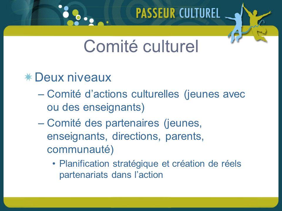 Comité culturel Deux niveaux –Comité dactions culturelles (jeunes avec ou des enseignants) –Comité des partenaires (jeunes, enseignants, directions, parents, communauté) Planification stratégique et création de réels partenariats dans laction