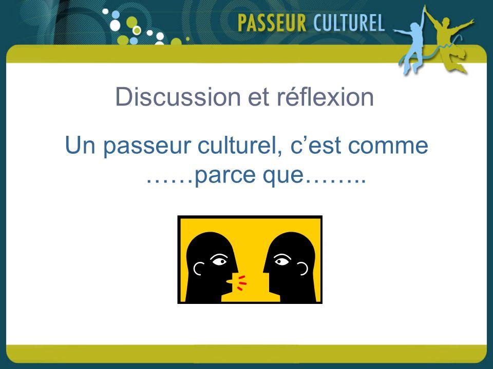 Discussion et réflexion Un passeur culturel, cest comme ……parce que……..