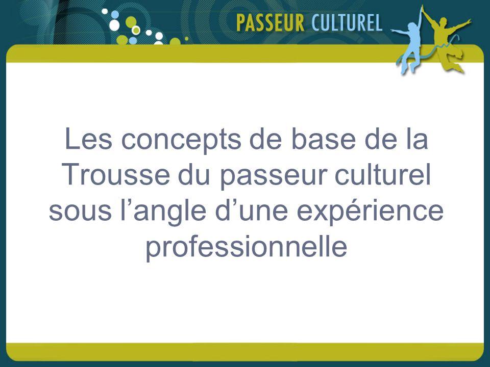 Les concepts de base de la Trousse du passeur culturel sous langle dune expérience professionnelle