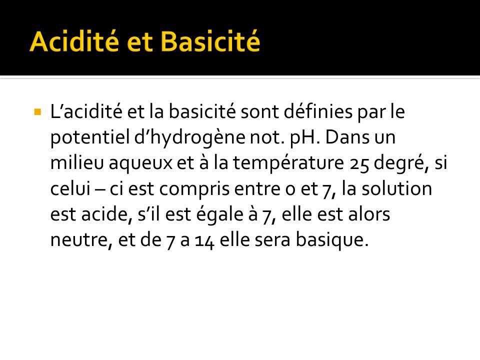 Lacidité et la basicité sont définies par le potentiel dhydrogène not.