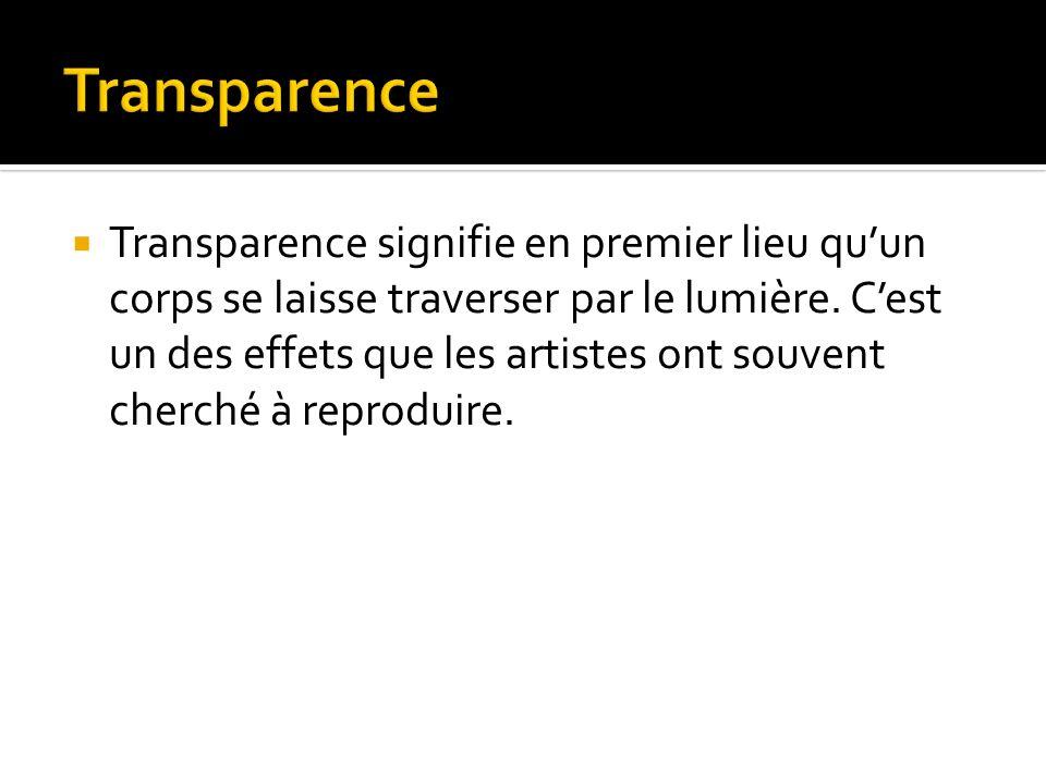 Transparence signifie en premier lieu quun corps se laisse traverser par le lumière.