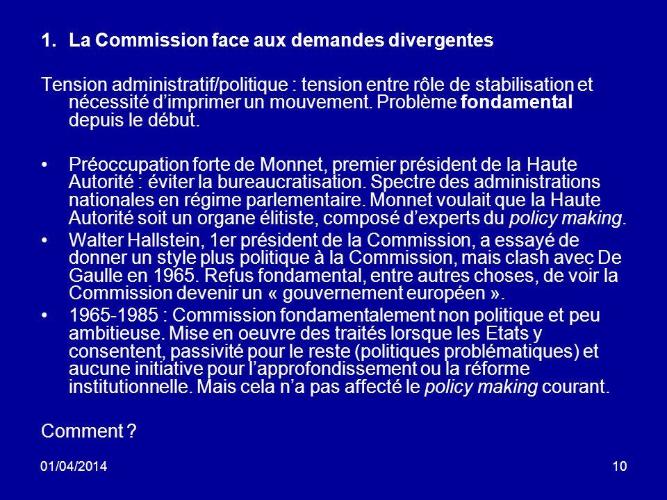 01/04/201410 1.La Commission face aux demandes divergentes Tension administratif/politique : tension entre rôle de stabilisation et nécessité dimprimer un mouvement.
