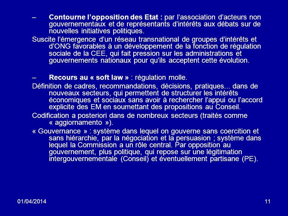 01/04/201411 –Contourne lopposition des Etat : par lassociation dacteurs non gouvernementaux et de représentants dintérêts aux débats sur de nouvelles initiatives politiques.