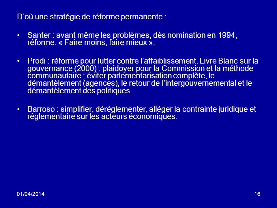01/04/201416 Doù une stratégie de réforme permanente : Santer : avant même les problèmes, dès nomination en 1994, réforme.