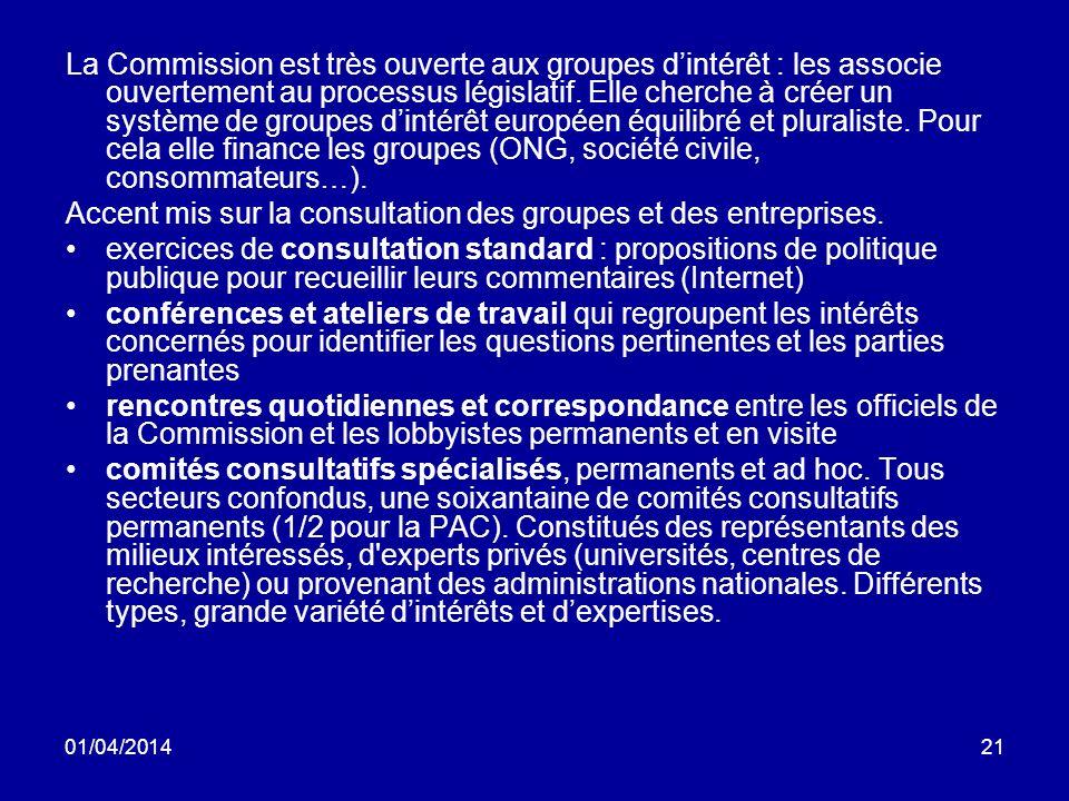 01/04/201421 La Commission est très ouverte aux groupes dintérêt : les associe ouvertement au processus législatif.