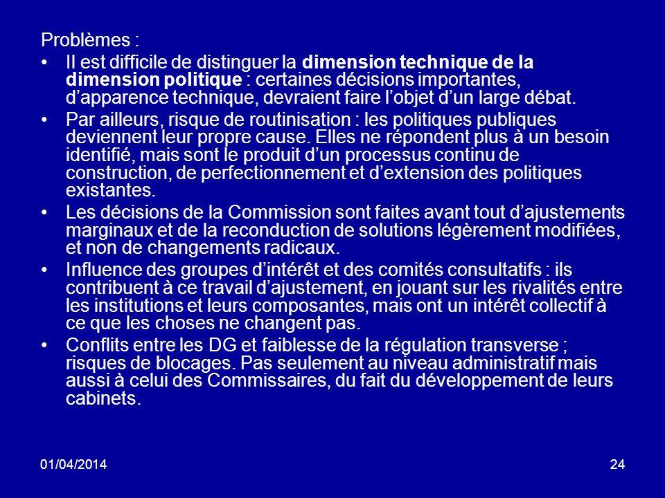 01/04/201424 Problèmes : Il est difficile de distinguer la dimension technique de la dimension politique : certaines décisions importantes, dapparence technique, devraient faire lobjet dun large débat.