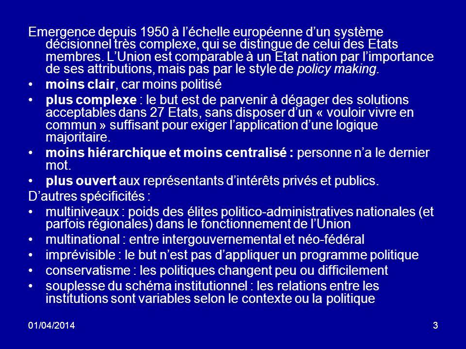 01/04/20143 Emergence depuis 1950 à léchelle européenne dun système décisionnel très complexe, qui se distingue de celui des Etats membres.