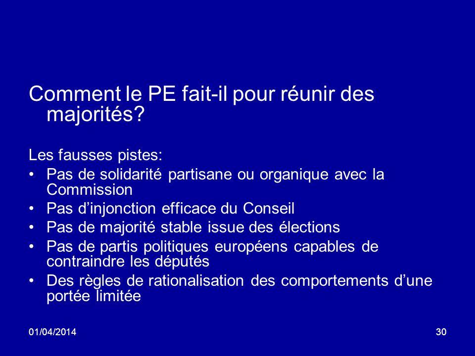 01/04/201430 Comment le PE fait-il pour réunir des majorités.