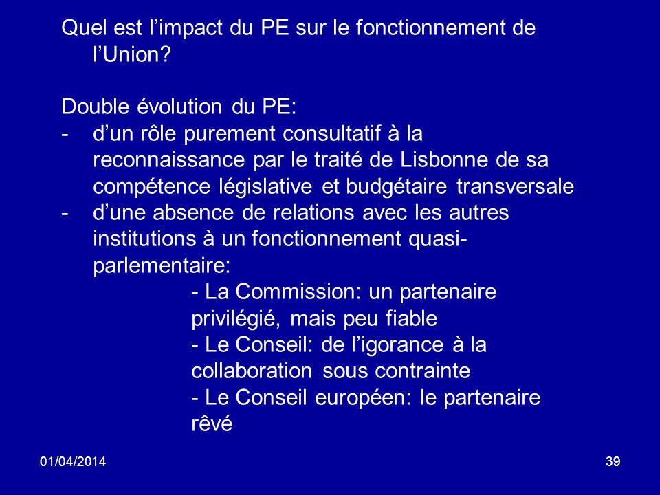 01/04/201439 Quel est limpact du PE sur le fonctionnement de lUnion.