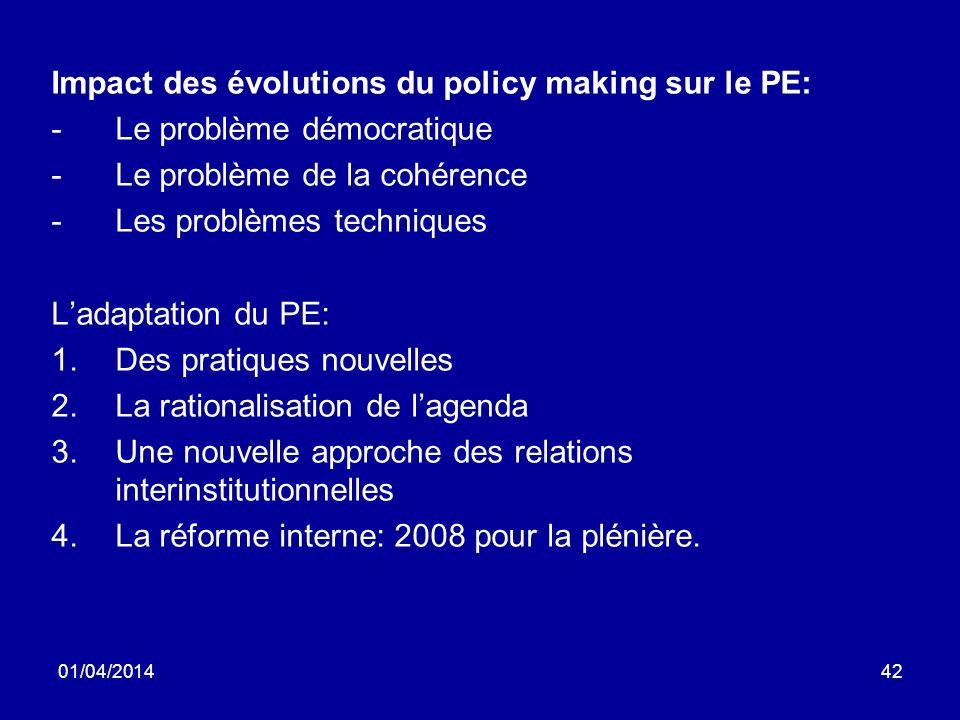 01/04/201442 Impact des évolutions du policy making sur le PE: -Le problème démocratique -Le problème de la cohérence -Les problèmes techniques Ladaptation du PE: 1.Des pratiques nouvelles 2.La rationalisation de lagenda 3.Une nouvelle approche des relations interinstitutionnelles 4.La réforme interne: 2008 pour la plénière.