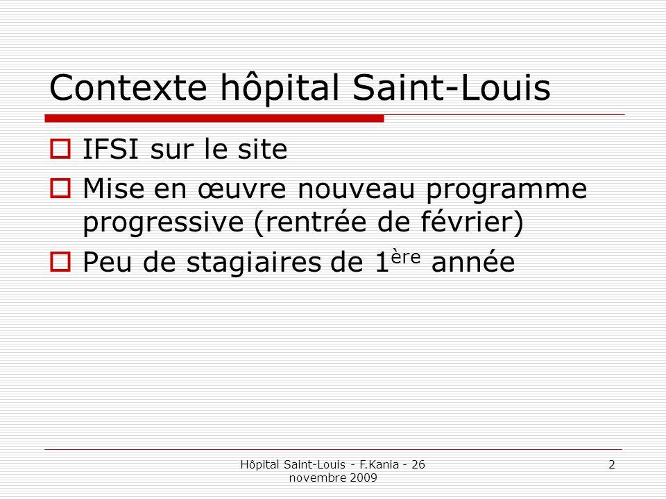 Hôpital Saint-Louis - F.Kania - 26 novembre 2009 2 Contexte hôpital Saint-Louis IFSI sur le site Mise en œuvre nouveau programme progressive (rentrée