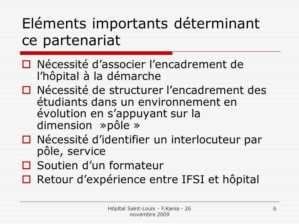 Hôpital Saint-Louis - F.Kania - 26 novembre 2009 6 Eléments importants déterminant ce partenariat Nécessité dassocier lencadrement de lhôpital à la dé