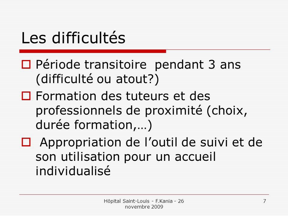 Hôpital Saint-Louis - F.Kania - 26 novembre 2009 7 Les difficultés Période transitoire pendant 3 ans (difficulté ou atout?) Formation des tuteurs et d