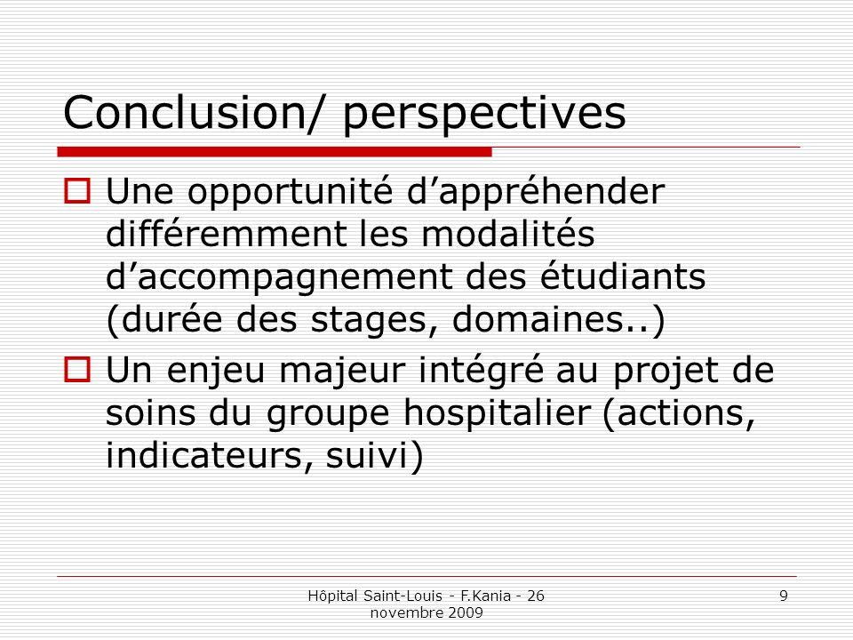 Hôpital Saint-Louis - F.Kania - 26 novembre 2009 9 Conclusion/ perspectives Une opportunité dappréhender différemment les modalités daccompagnement de