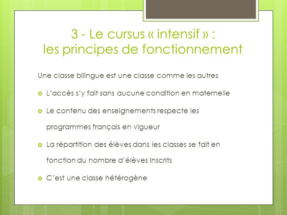 3 - Le cursus « intensif » : les principes de fonctionnement Une classe bilingue est une classe comme les autres Laccès sy fait sans aucune condition