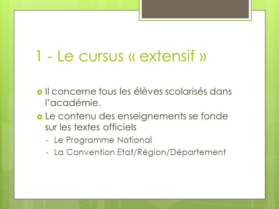 1 - Le cursus « extensif » Il concerne tous les élèves scolarisés dans lacadémie. Le contenu des enseignements se fonde sur les textes officiels Le Pr