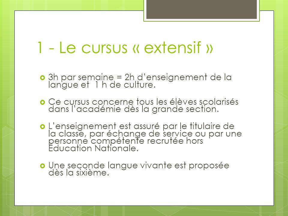 1 - Le cursus « extensif » 3h par semaine = 2h denseignement de la langue et 1 h de culture. Ce cursus concerne tous les élèves scolarisés dans lacadé