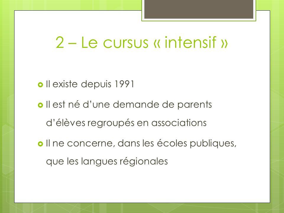2 – Le cursus « intensif » Il existe depuis 1991 Il est né dune demande de parents délèves regroupés en associations Il ne concerne, dans les écoles p