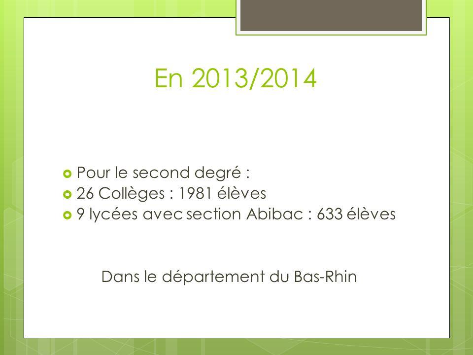 En 2013/2014 Pour le second degré : 26 Collèges : 1981 élèves 9 lycées avec section Abibac : 633 élèves Dans le département du Bas-Rhin