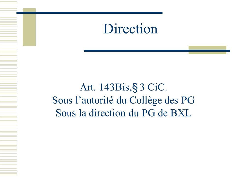 Direction Art. 143Bis,§ 3 CiC. Sous lautorité du Collège des PG Sous la direction du PG de BXL