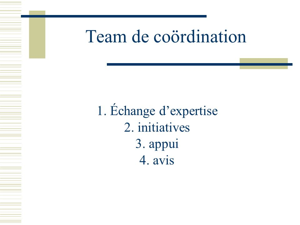 Team de coördination 1. Échange dexpertise 2. initiatives 3. appui 4. avis