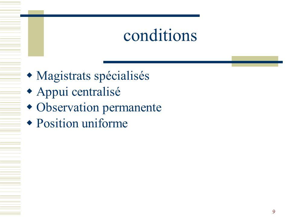 9 conditions Magistrats spécialisés Appui centralisé Observation permanente Position uniforme