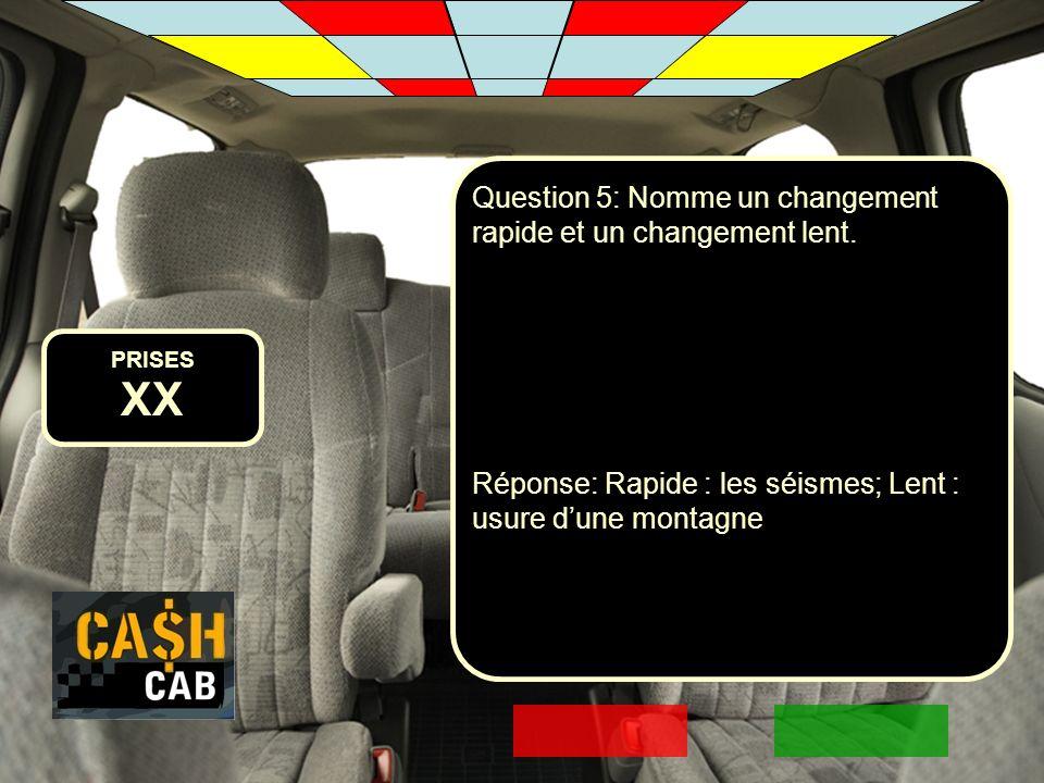 PRISES XX Question 5: Nomme un changement rapide et un changement lent. Réponse: Rapide : les séismes; Lent : usure dune montagne