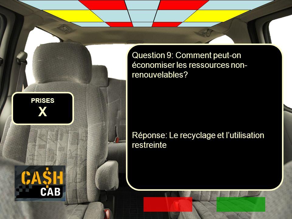 PRISES X Question 9: Comment peut-on économiser les ressources non- renouvelables? Réponse: Le recyclage et lutilisation restreinte