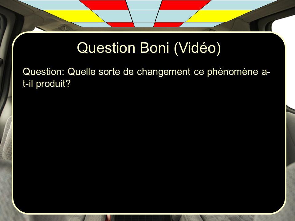 Question Boni (Vidéo) Question: Quelle sorte de changement ce phénomène a- t-il produit?