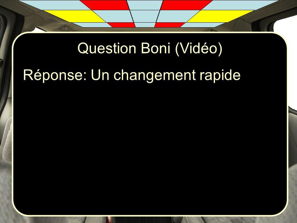 Question Boni (Vidéo) Réponse: Un changement rapide