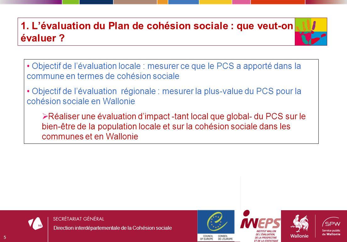1. Lévaluation du Plan de cohésion sociale : que veut-on évaluer .