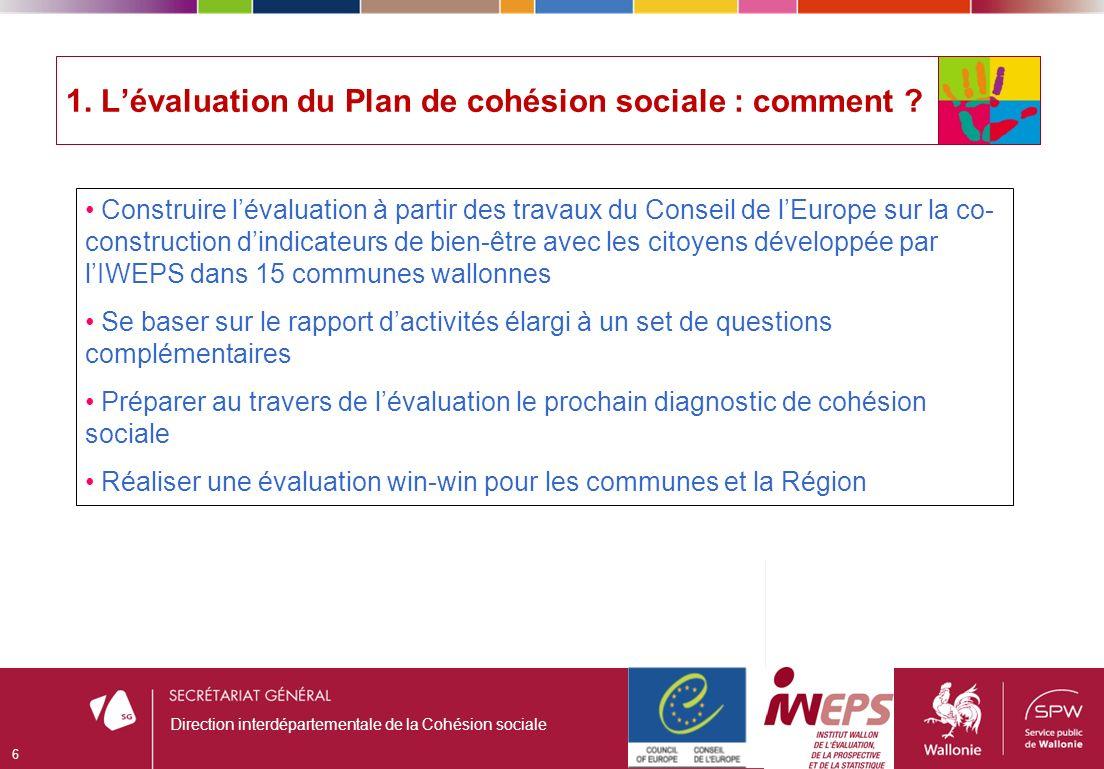 1. Lévaluation du Plan de cohésion sociale : comment .