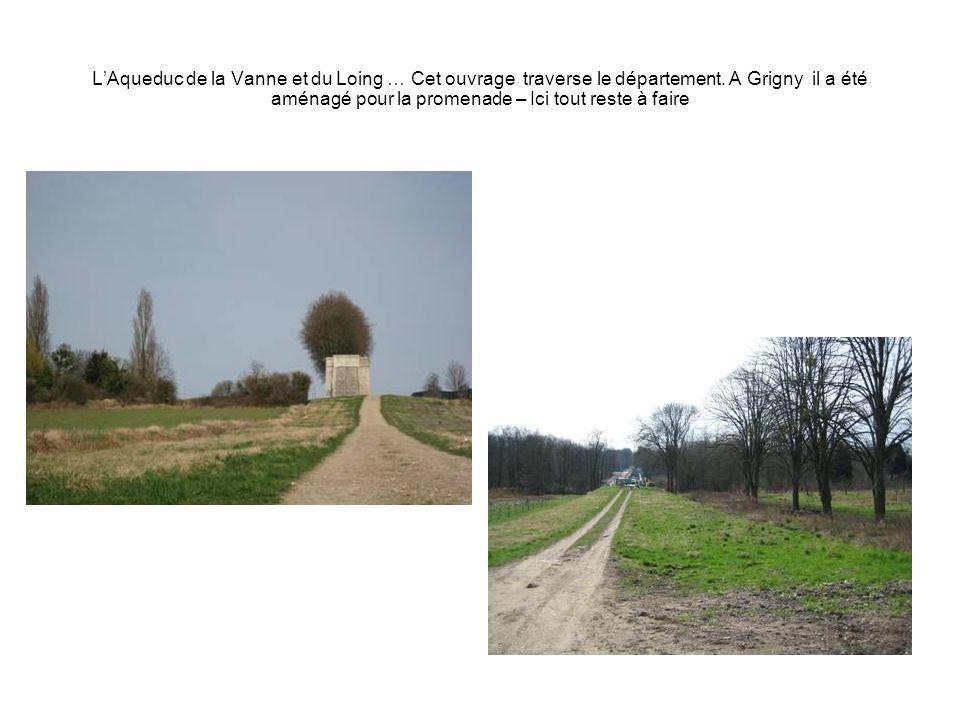 LAqueduc de la Vanne et du Loing … Cet ouvrage traverse le département. A Grigny il a été aménagé pour la promenade – Ici tout reste à faire