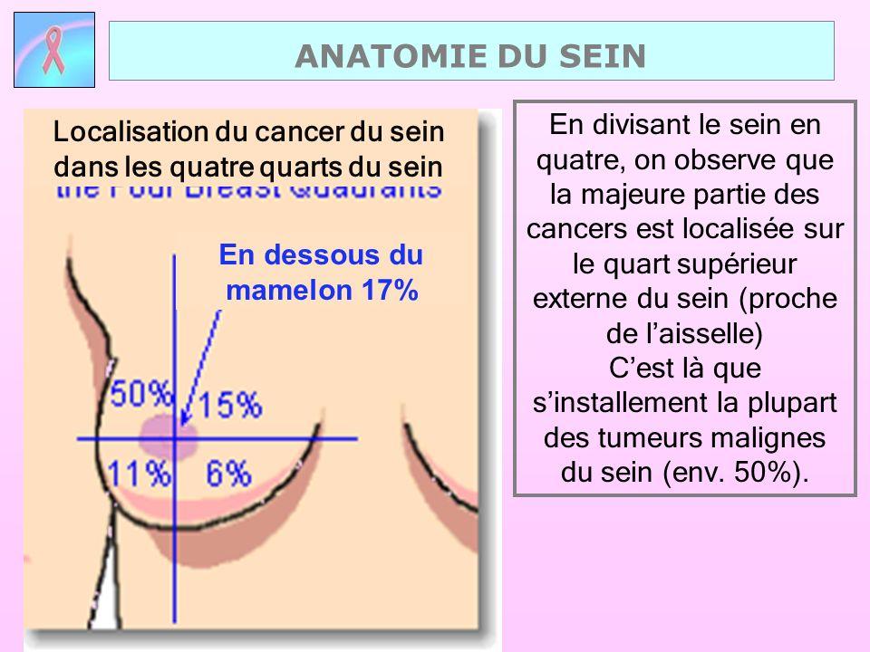 En divisant le sein en quatre, on observe que la majeure partie des cancers est localisée sur le quart supérieur externe du sein (proche de laisselle)