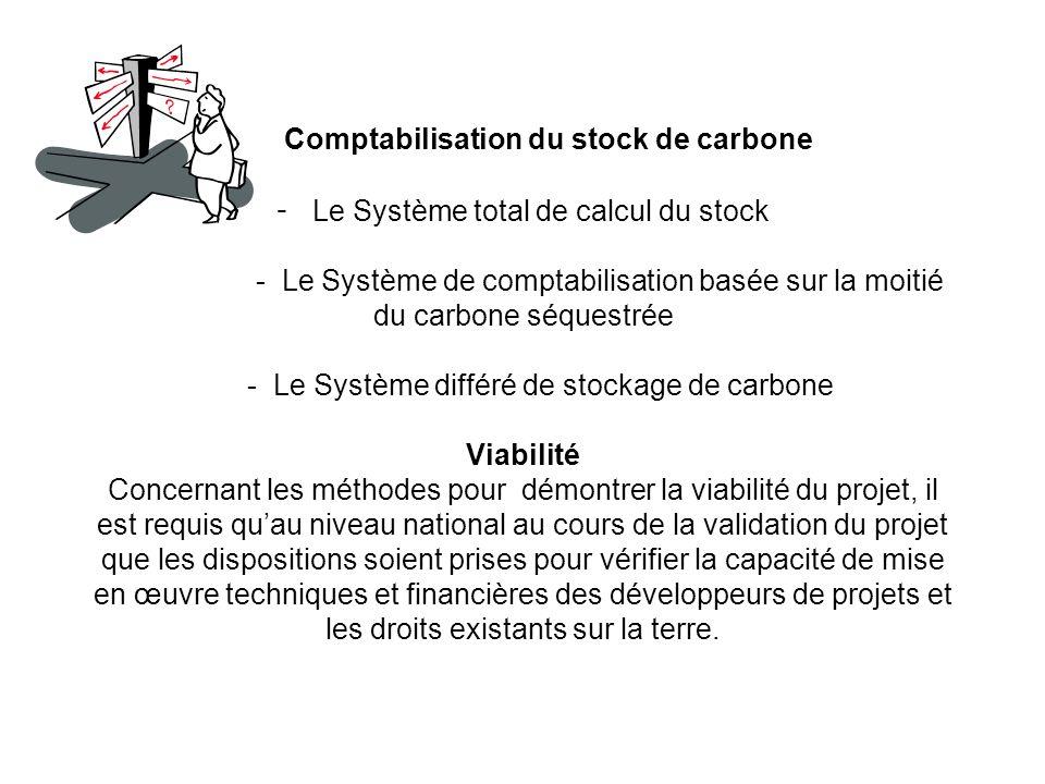 Comptabilisation du stock de carbone - Le Système total de calcul du stock - Le Système de comptabilisation basée sur la moitié du carbone séquestrée