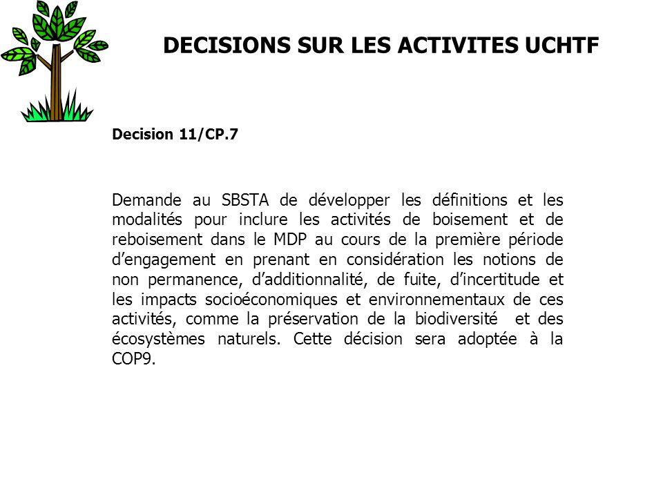 DECISIONS SUR LES ACTIVITES UCHTF Decision 11/CP.7 Demande au SBSTA de développer les définitions et les modalités pour inclure les activités de boise