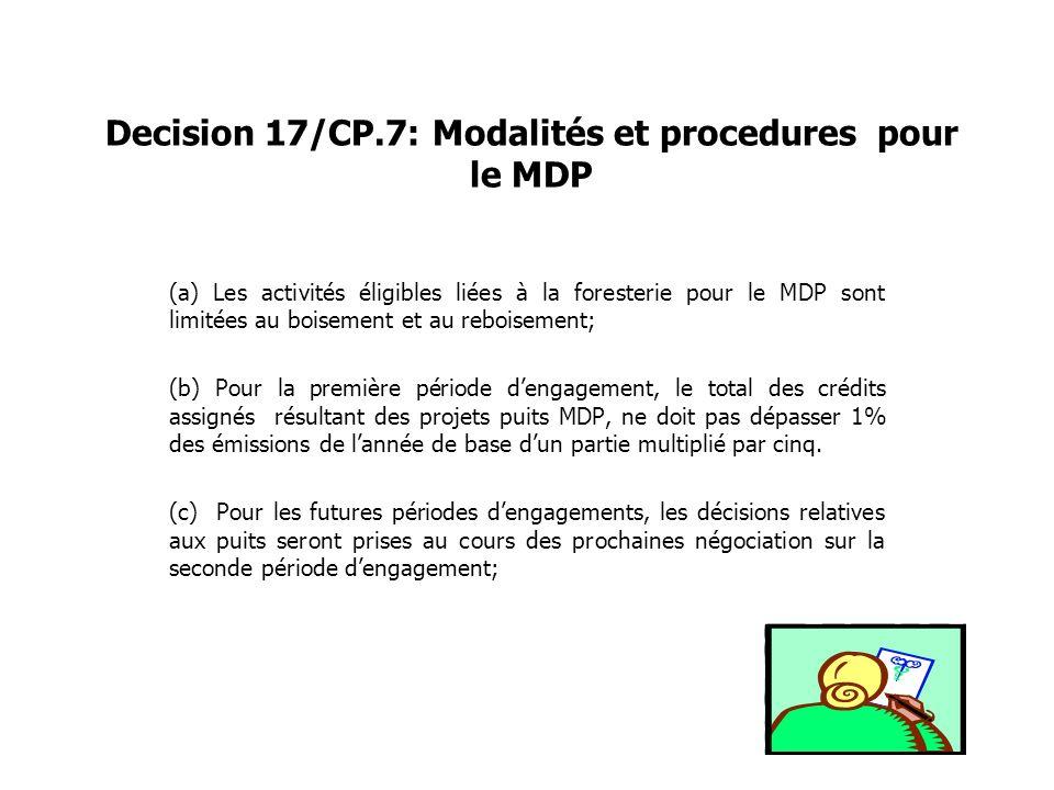 Decision 17/CP.7: Modalités et procedures pour le MDP (a) Les activités éligibles liées à la foresterie pour le MDP sont limitées au boisement et au r