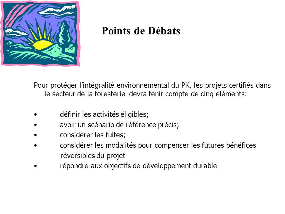 Points de Débats Pour protéger lintégralité environnemental du PK, les projets certifiés dans le secteur de la foresterie devra tenir compte de cinq é